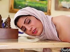 Naughty Arab chick with a headscarf, Nadia Ali knows how to suck a huge dick