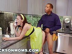 Naughty housewife and two black plumbers are having a threesome in her kitchen and in her bedroom