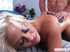 Big titted blonde mom with a tattoo on her lower back, is fucking her handsome lover