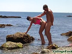 Girls are not only playing on the beach, they are also getting fucked in various places