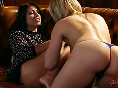 Adriana Chechik is getting her pussy licked on the sofa and enjoying every second of it