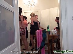European babe is making a private party in her apartment, with a lot of sex included