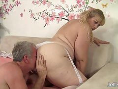 Big titted blonde likes to have casual sex with her elderly neighbor, in his apartment