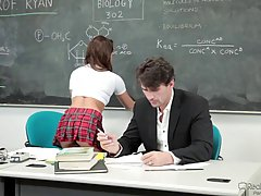 Petite schoolgirl, Sara Luvv likes her handsome chemistry teacher more than he is aware of it