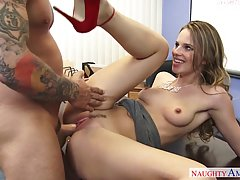 Slutty office chick lets her co- workers fuck her brains out every once in a while