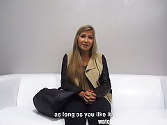 Fresh blonde is getting nailed during her first job interview, because she wants to get hired