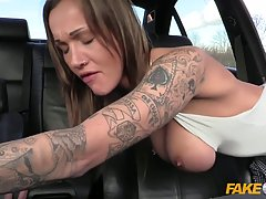 Naughty woman is about to have wild anal sex with a fake cop, in his car