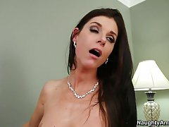 Dark haired woman is fucking a guy who is not her husband, because she is very horny
