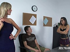 Dark haired babe, Joslyn James is having a threesome instead of finishing her job for the day