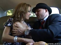 Lovely blonde woman in flower printed dress is having wild sex with her driver, in her new limo