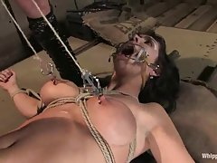 Kinky brunette was blindfolded and tied up in the basement, because she asked for it