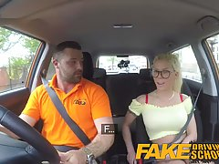 Lustful blonde got down and dirty with her driving teacher, just because she got horny
