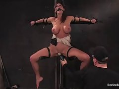 Big titted woman, Christina Carter likes to be tied up in the basement, once in a while